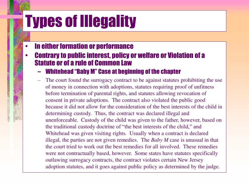 Types of Illegality