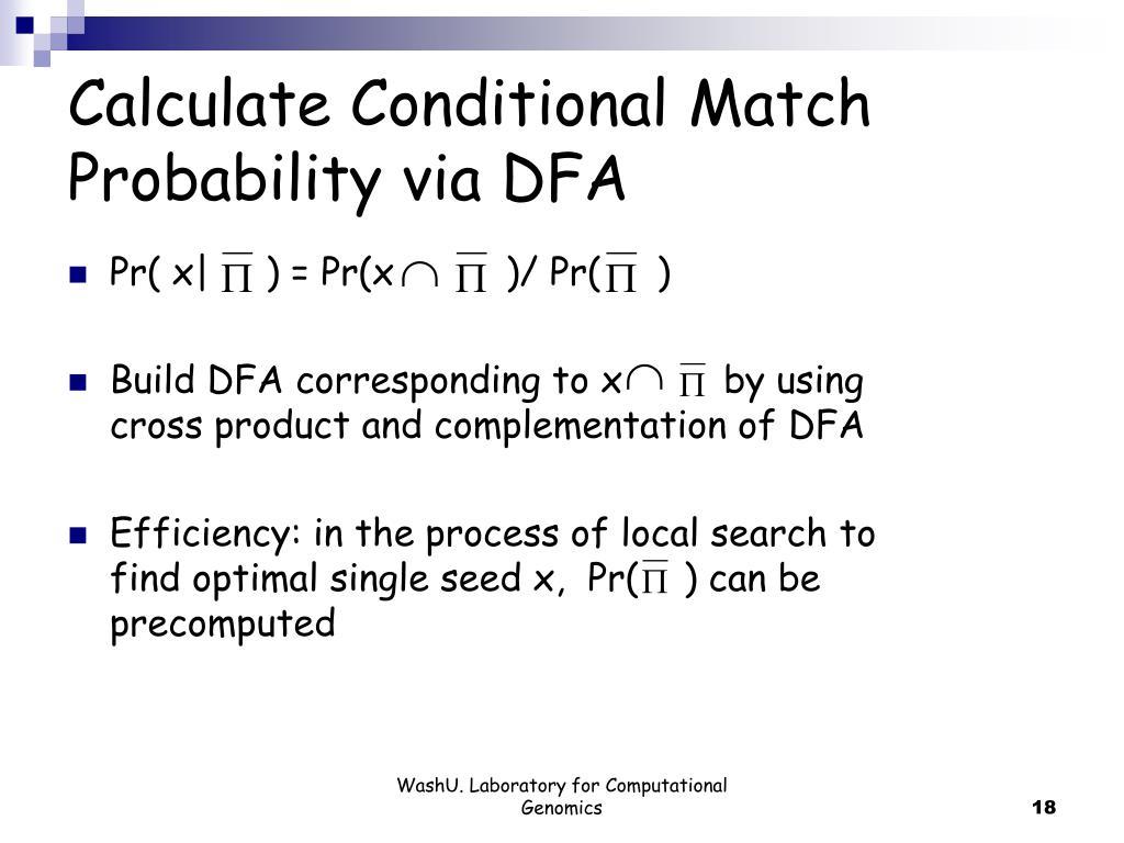Calculate Conditional Match Probability via DFA