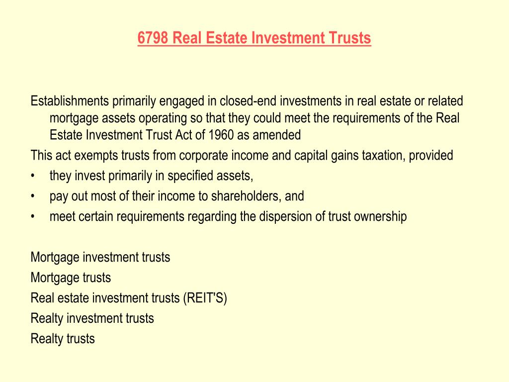 6798 Real Estate Investment Trusts