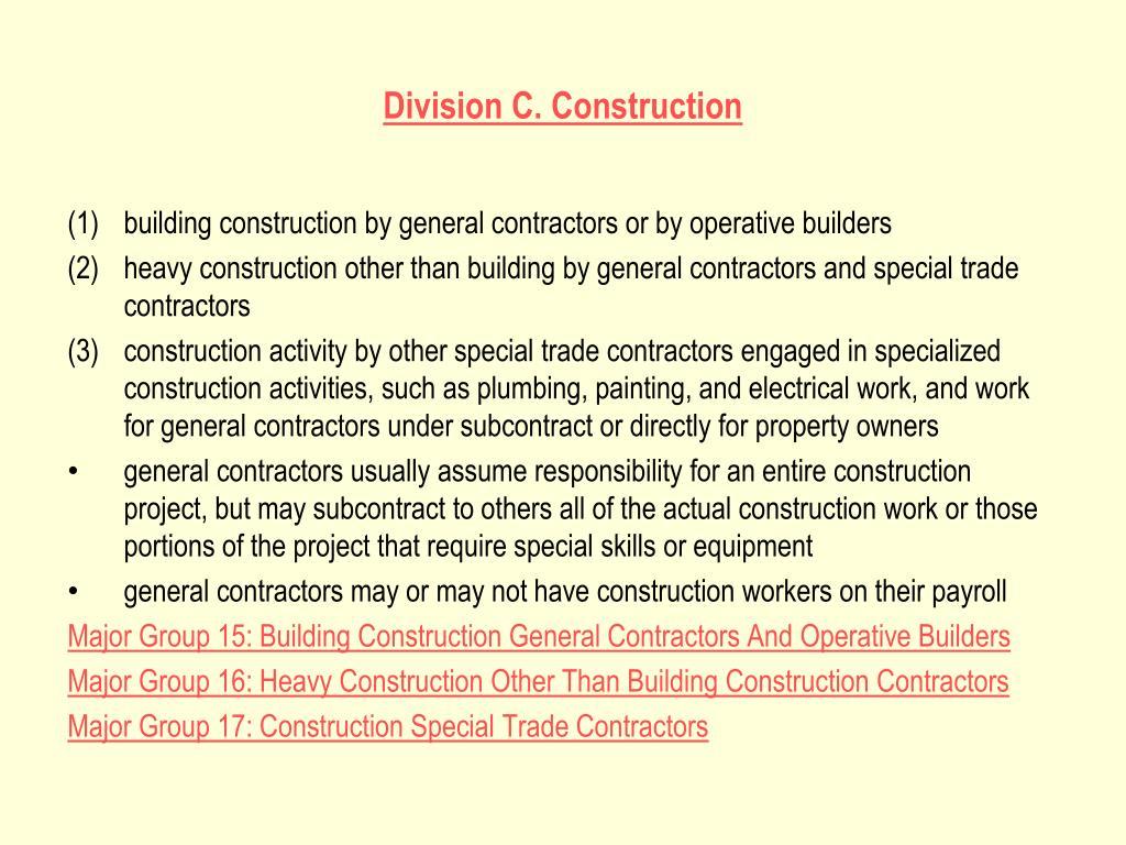 Division C. Construction