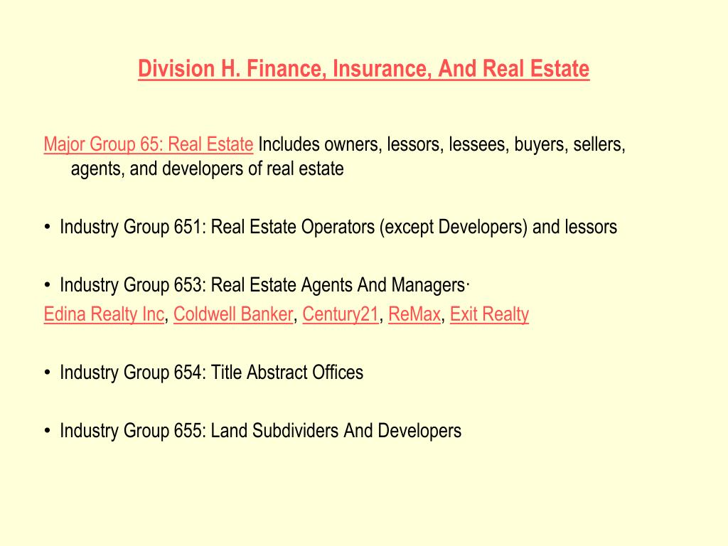 Division H. Finance, Insurance, And Real Estate