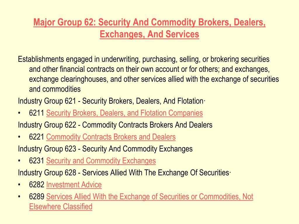 Major Group 62: Security And Commodity Brokers, Dealers, Exchanges, And Services