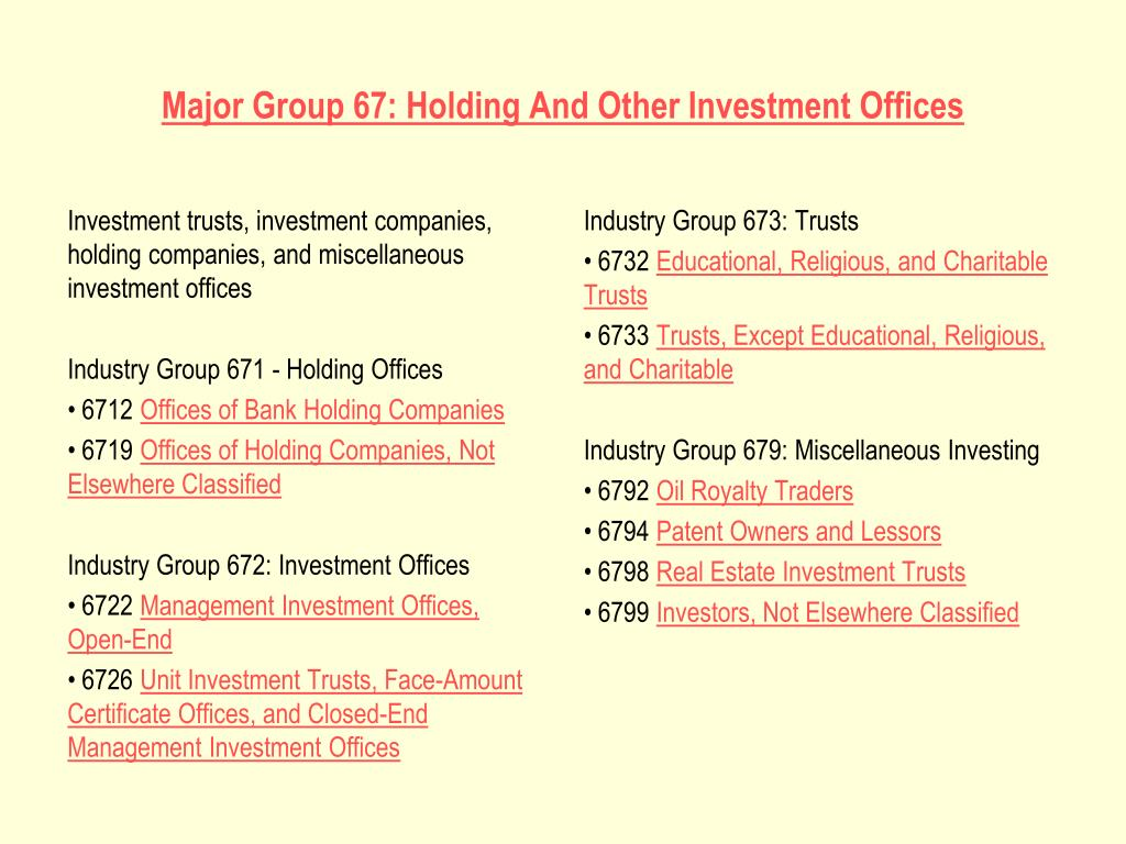 Investment trusts, investment companies, holding companies, and miscellaneous investment offices