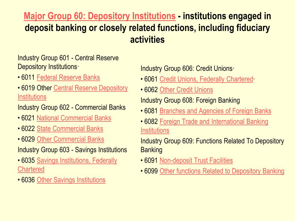 Industry Group 601 - Central Reserve Depository Institutions·