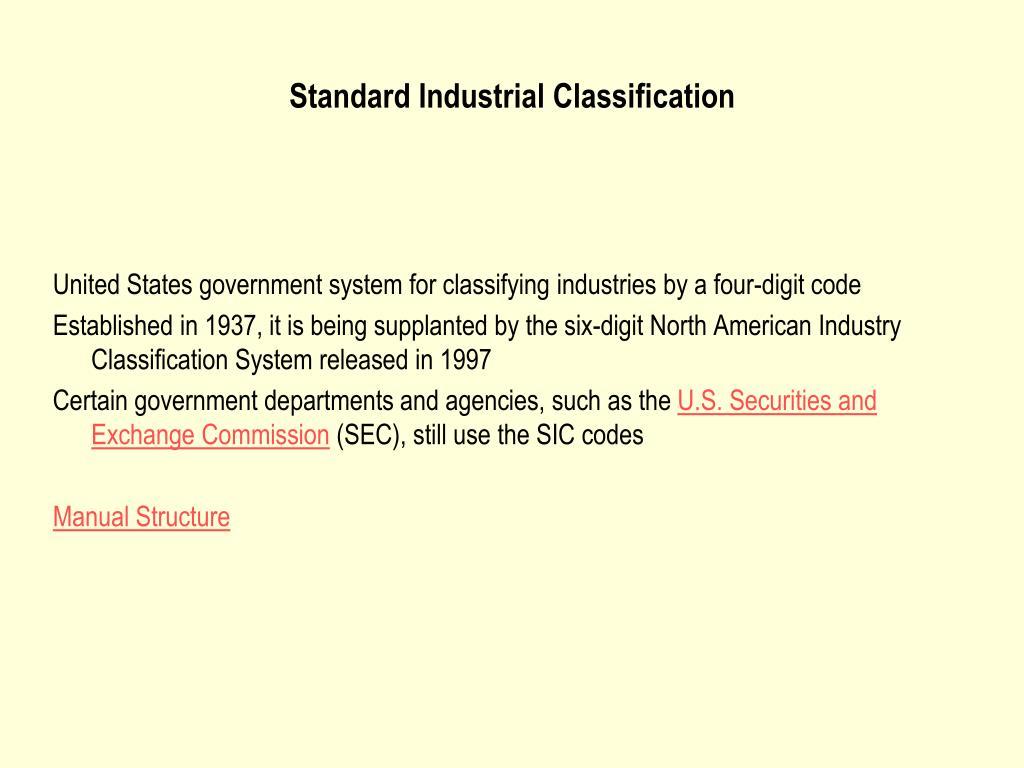 Standard Industrial Classification
