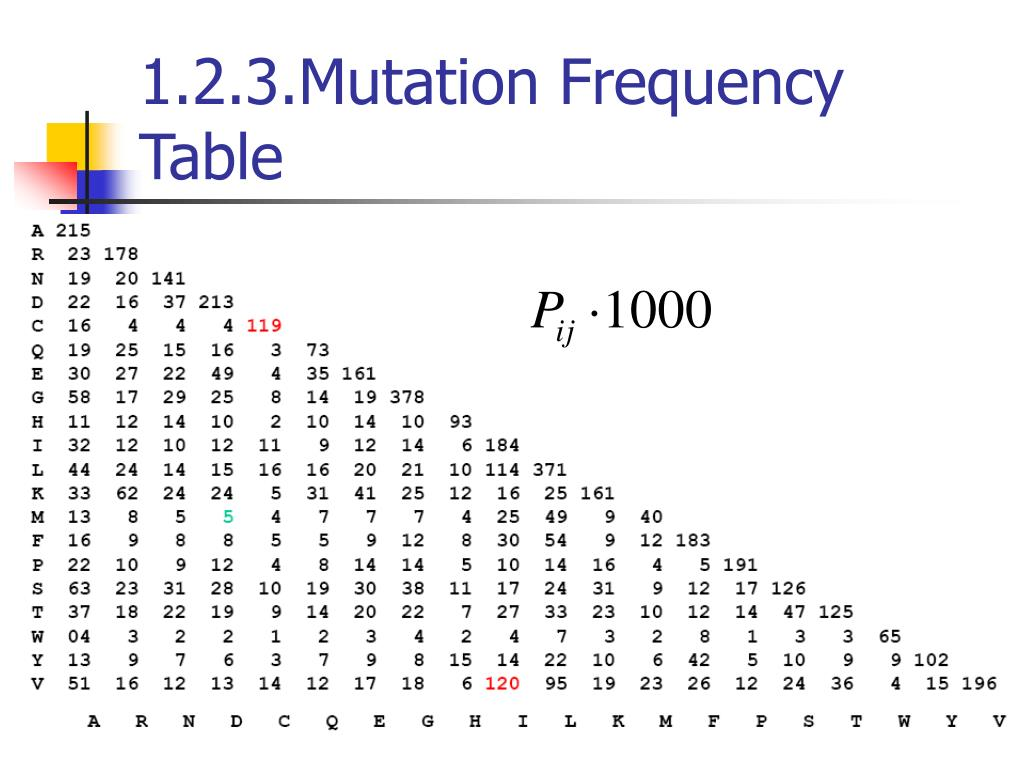 1.2.3.Mutation Frequency Table