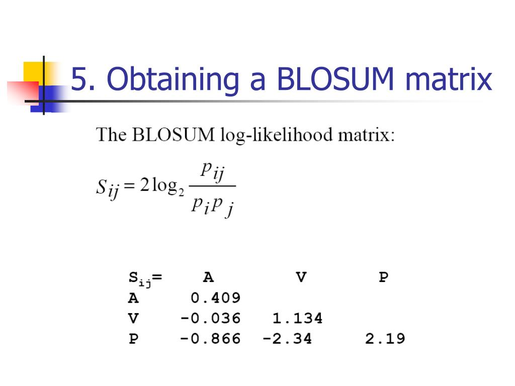 5. Obtaining a BLOSUM matrix