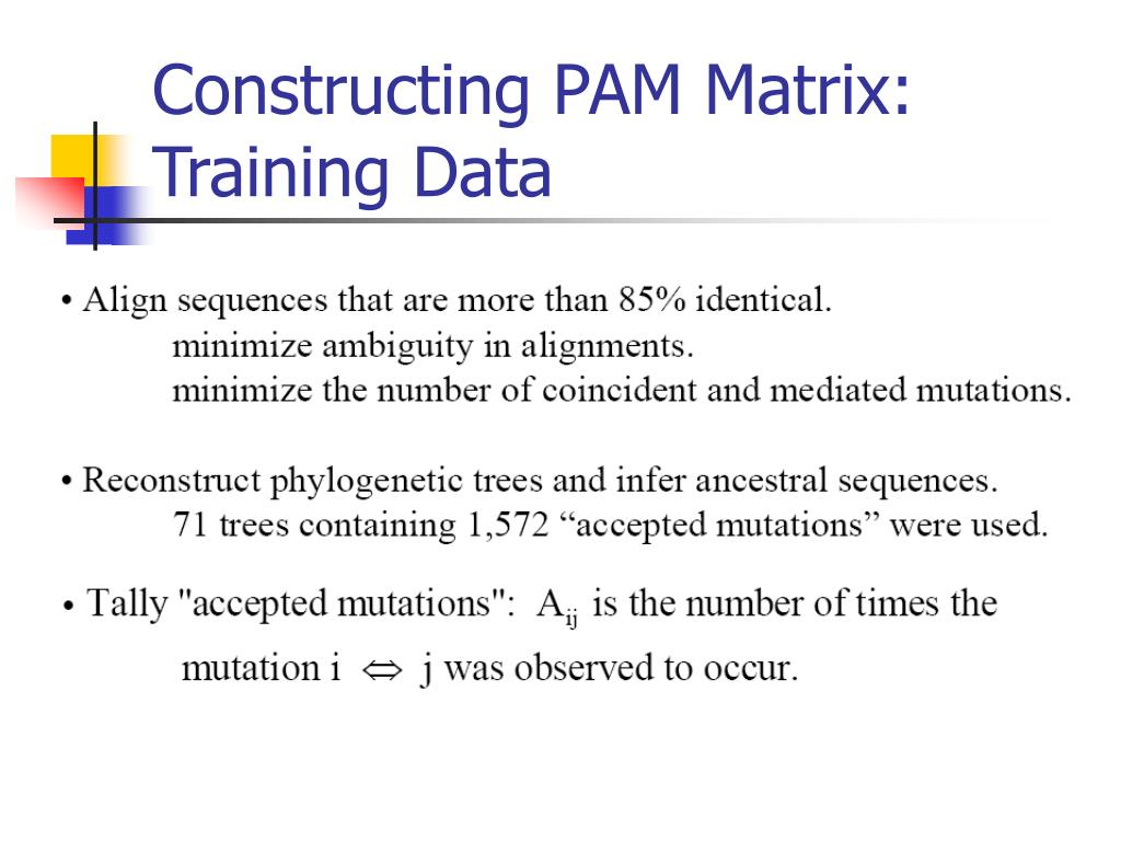 Constructing PAM Matrix: Training Data