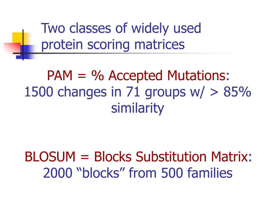 Two classes of widely used protein scoring matrices