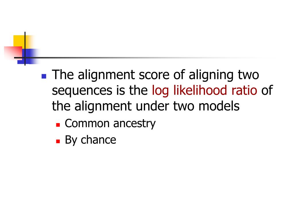 The alignment score of aligning two sequences is the