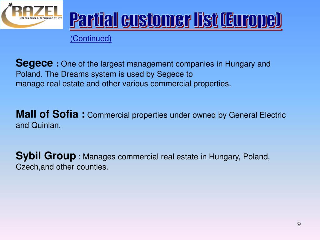 Partial customer list (Europe)