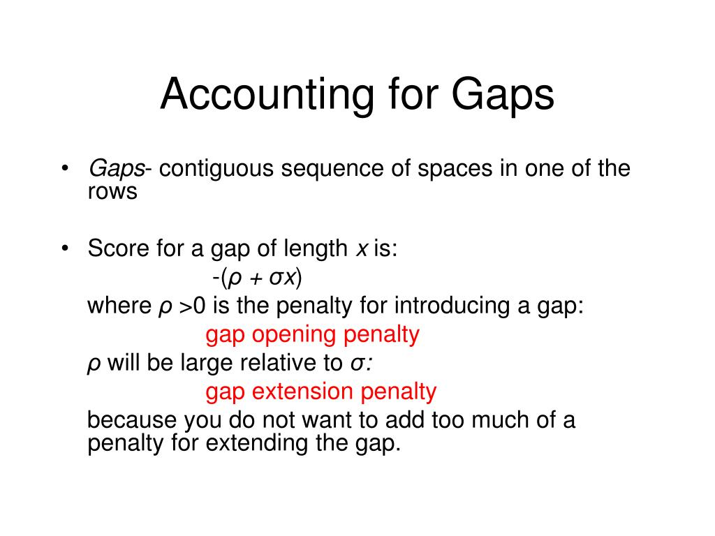 Accounting for Gaps