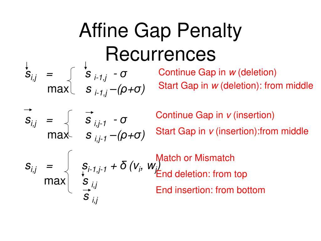 Affine Gap Penalty Recurrences