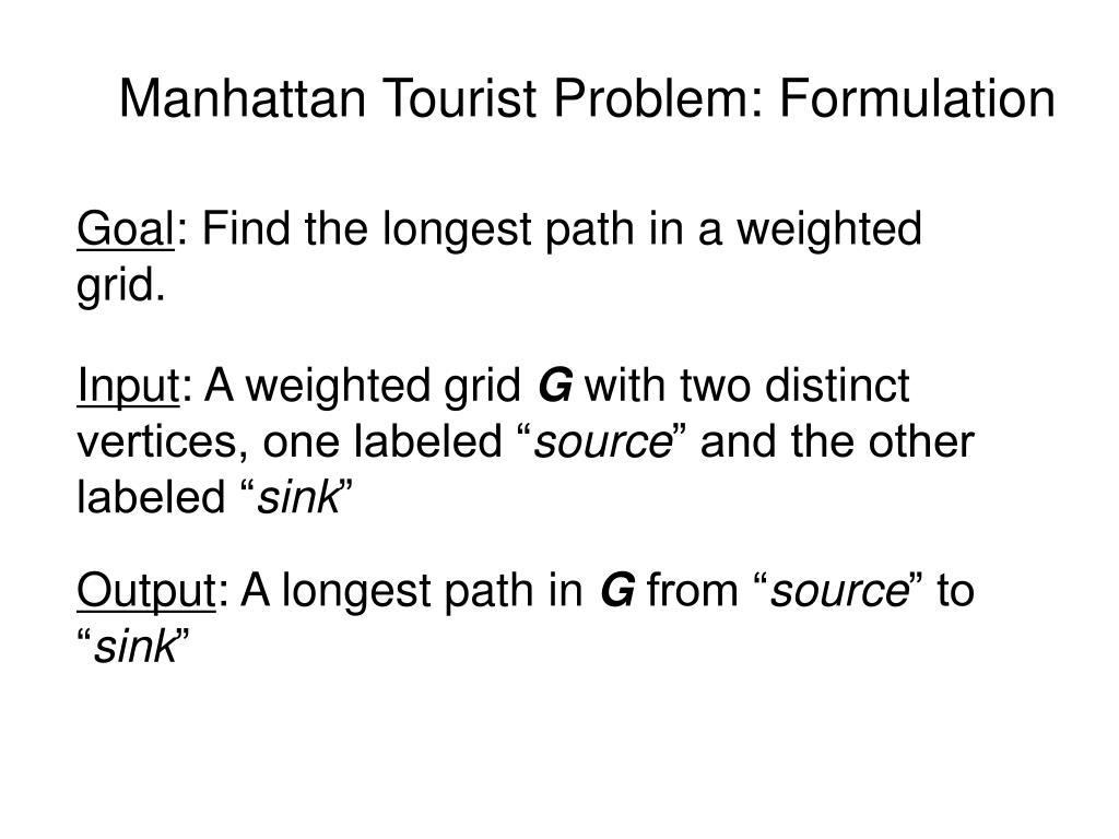 Manhattan Tourist Problem: Formulation