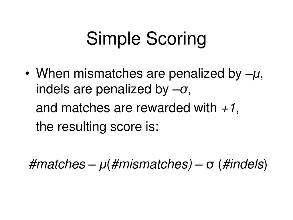 Simple Scoring