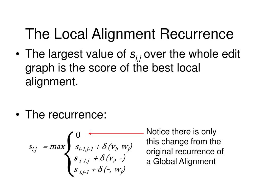 Notice there is only this change from the original recurrence of a Global Alignment