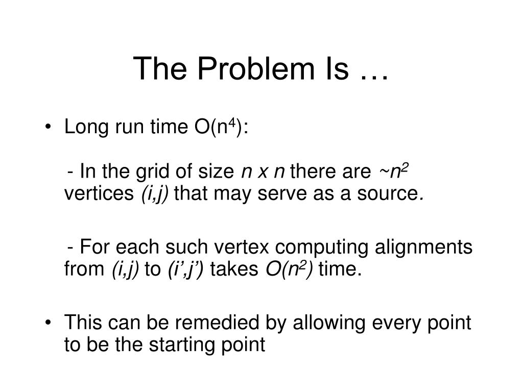 The Problem Is …
