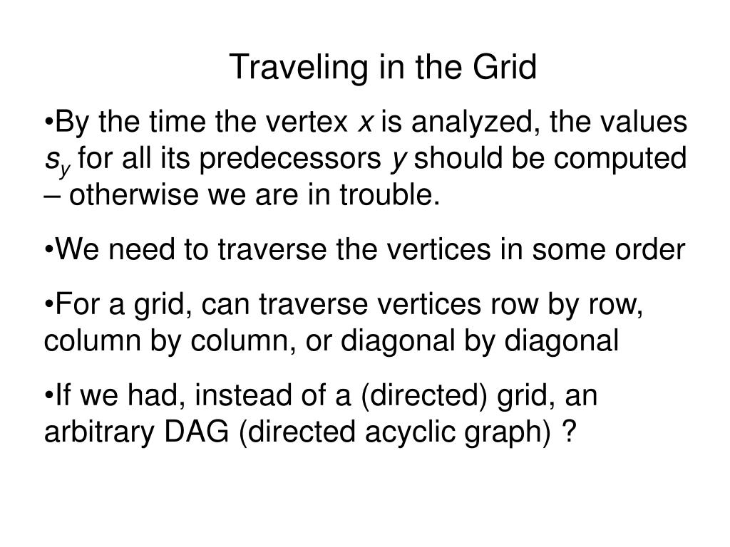 Traveling in the Grid