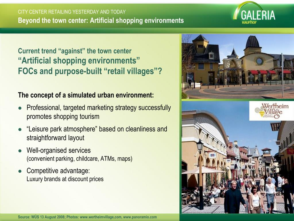 Beyond the town center: Artificial shopping environments
