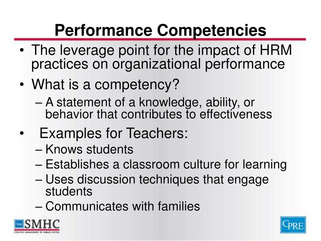 Performance Competencies