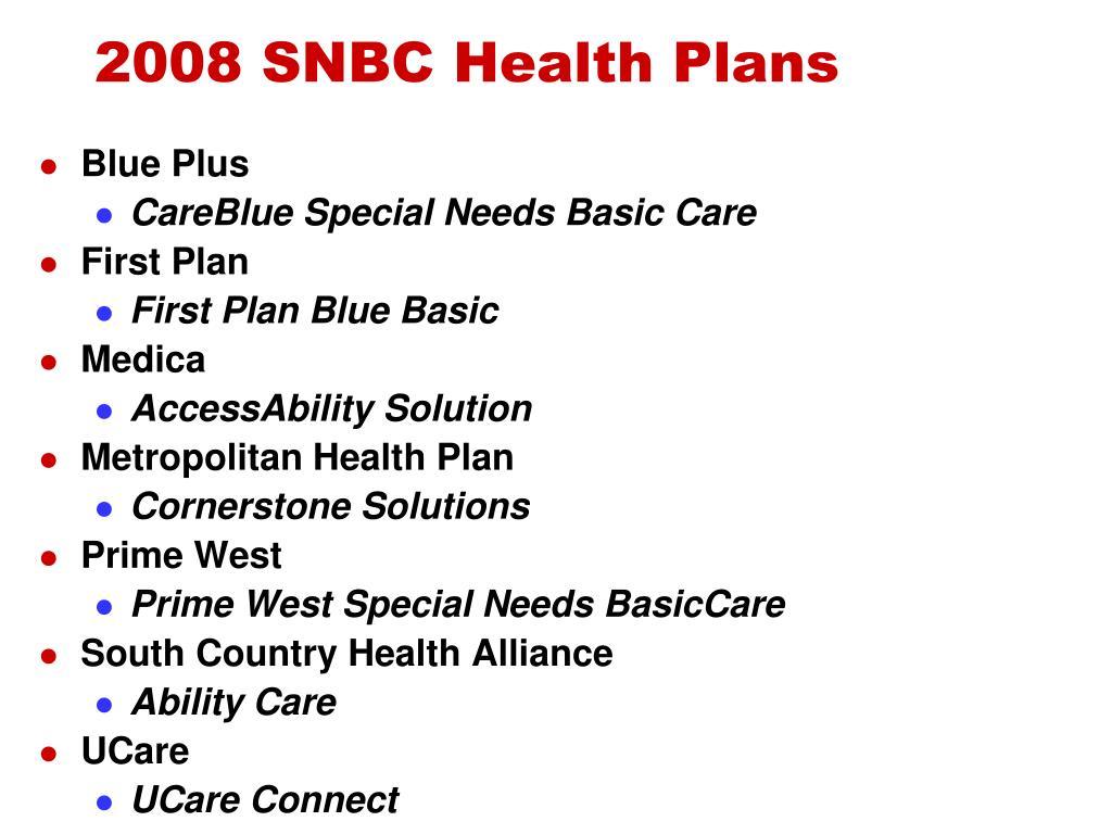 2008 SNBC Health Plans