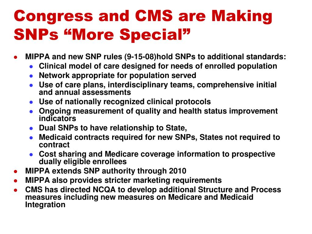 """Congress and CMS are Making SNPs """"More Special"""""""