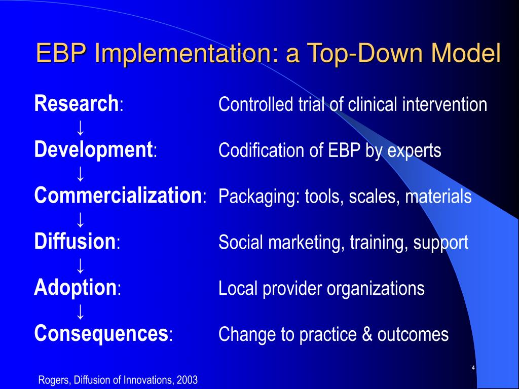 EBP Implementation: a Top-Down Model