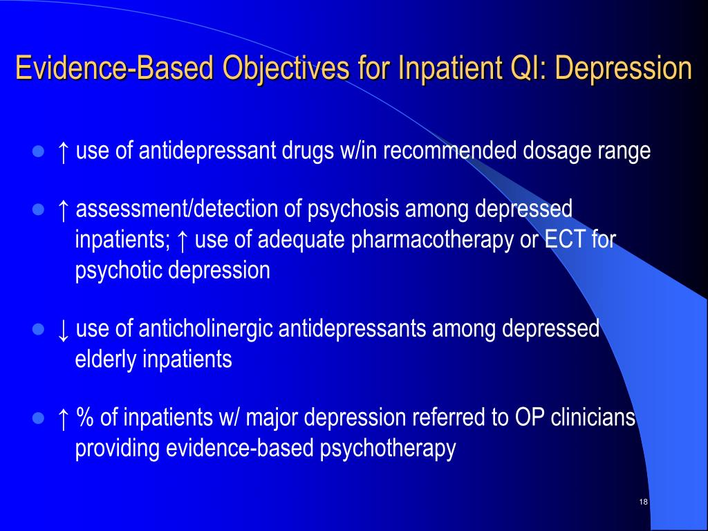 Evidence-Based Objectives for Inpatient QI: Depression
