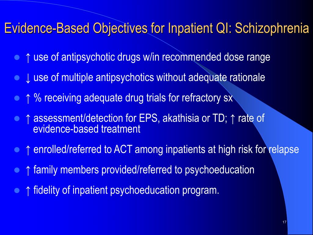 Evidence-Based Objectives for Inpatient QI: Schizophrenia