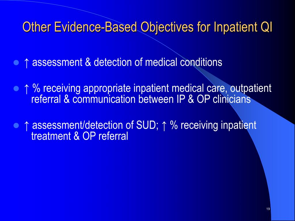 Other Evidence-Based Objectives for Inpatient QI