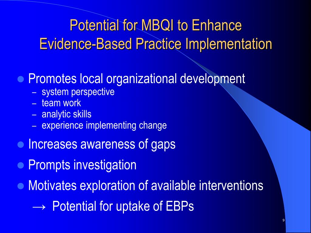 Potential for MBQI to Enhance