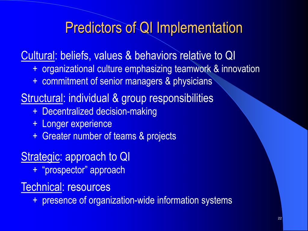 Predictors of QI Implementation