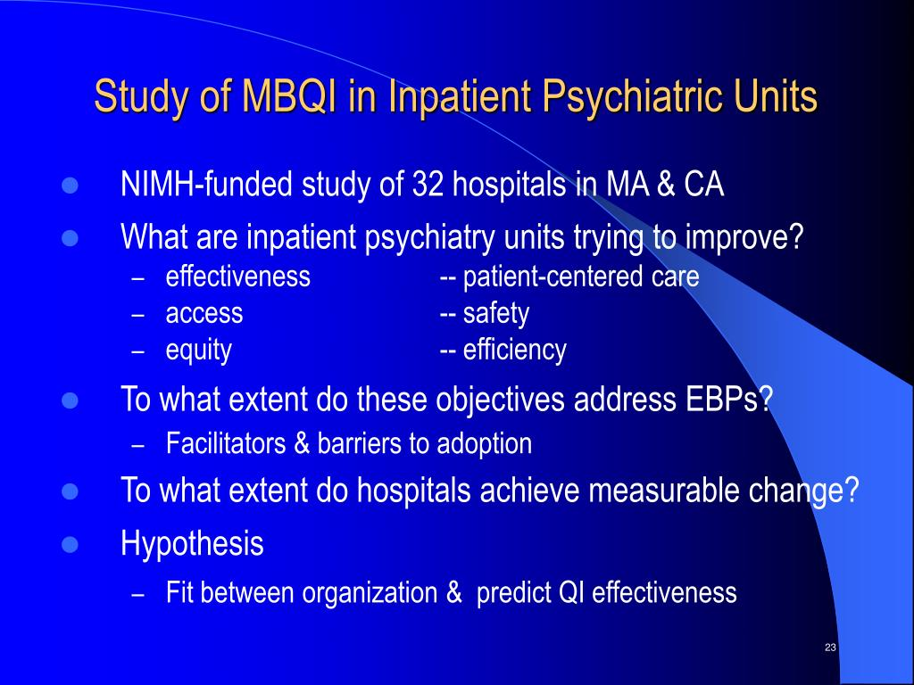 Study of MBQI in Inpatient Psychiatric Units