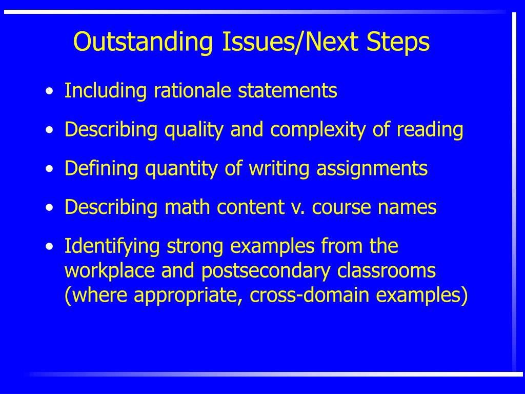 Outstanding Issues/Next Steps