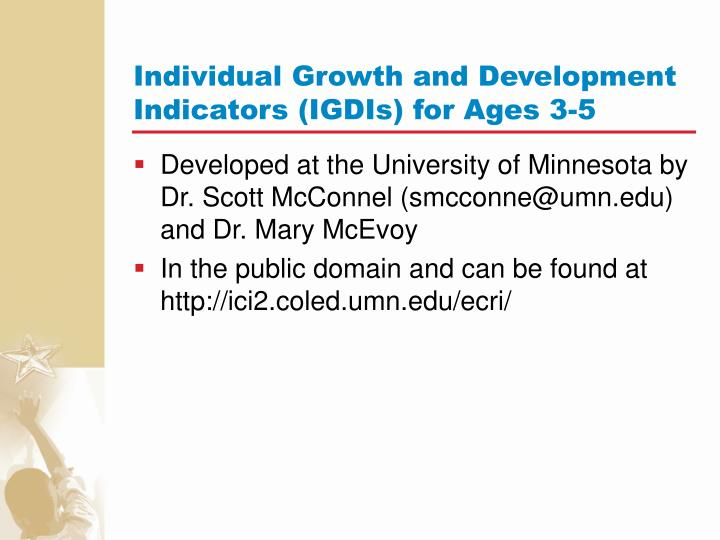 Individual Growth and Development Indicators (IGDIs) for Ages 3-5