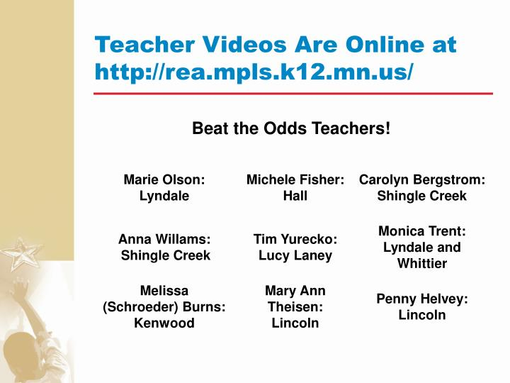 Teacher Videos Are Online at http://rea.mpls.k12.mn.us/