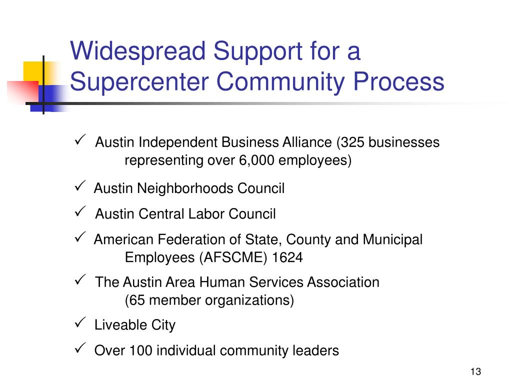 Widespread Support for a Supercenter Community Process