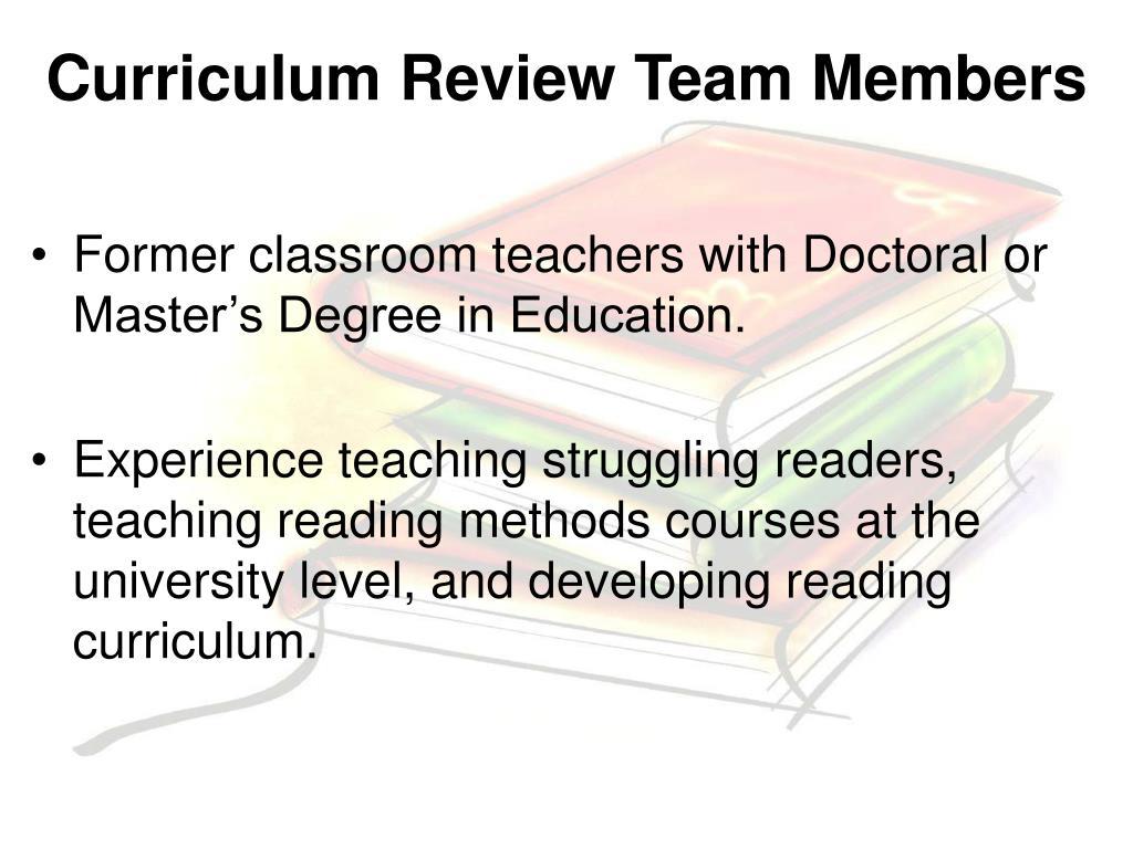 Curriculum Review Team Members