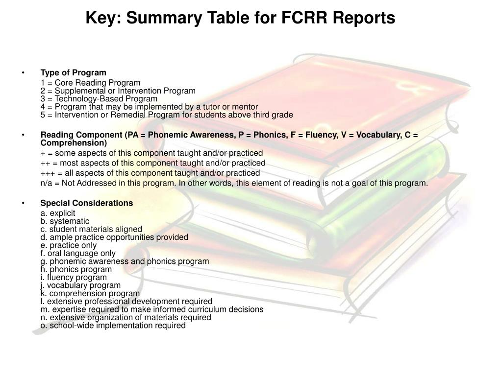 Key: Summary Table for FCRR Reports