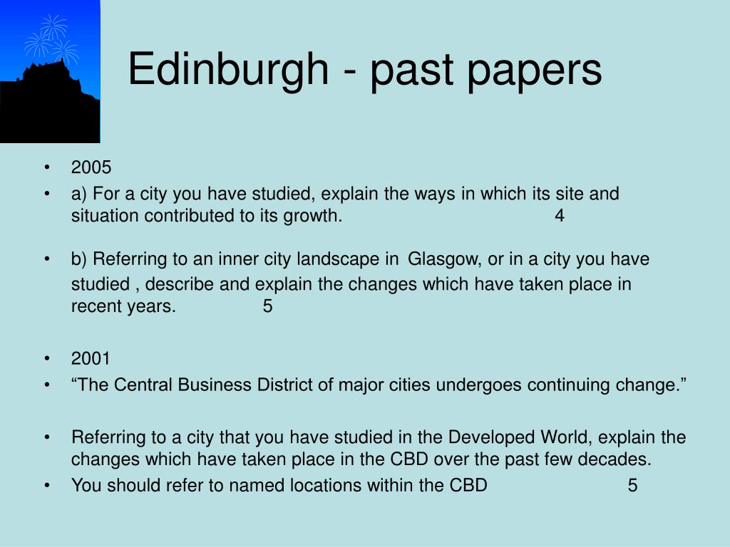 Edinburgh - past papers