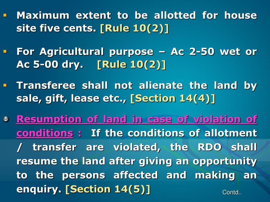 Maximum extent to be allotted for house site five cents.