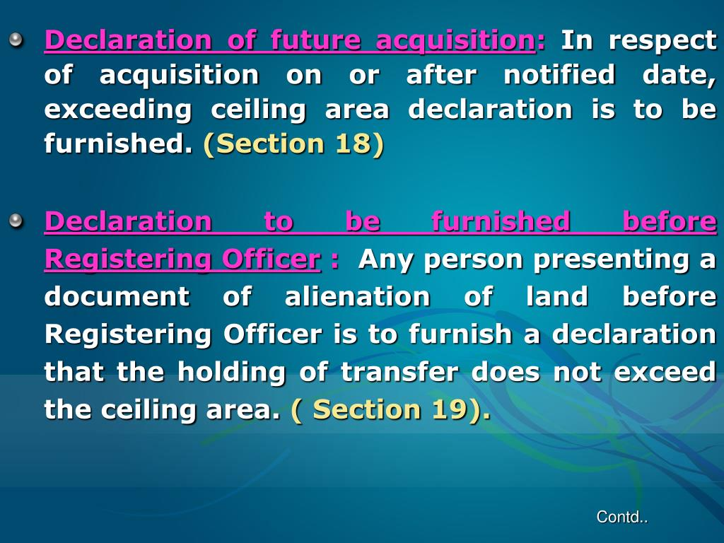 Declaration of future acquisition