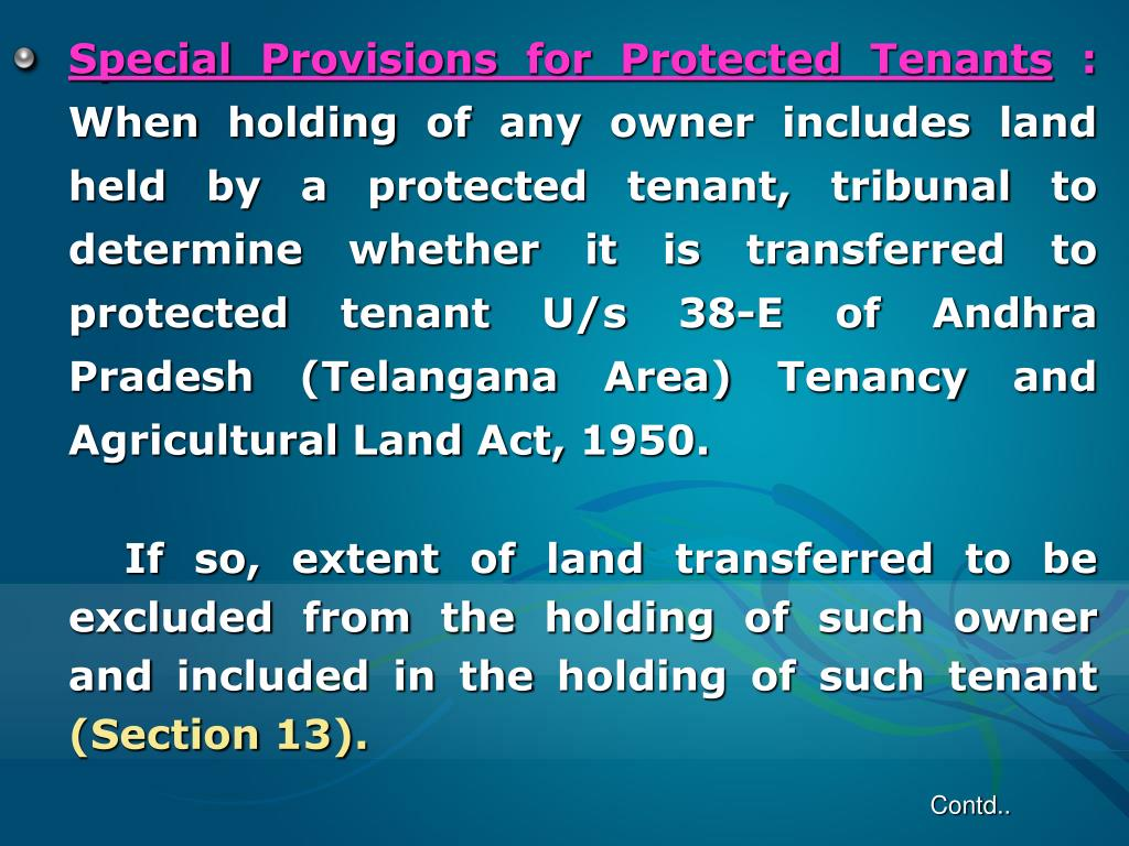 Special Provisions for Protected Tenants