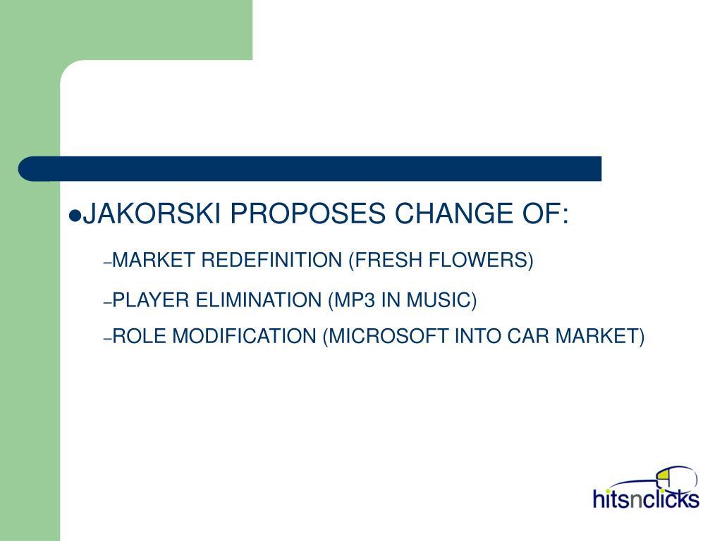 JAKORSKI PROPOSES CHANGE OF: