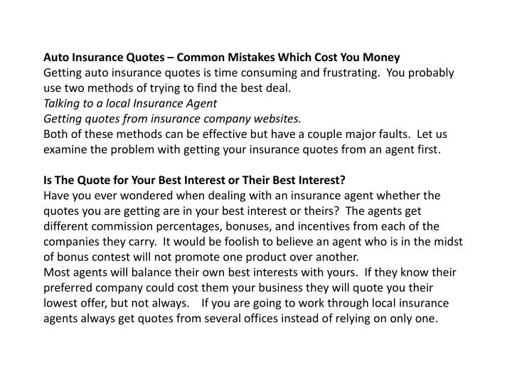 Auto Insurance Quotes – Common Mistakes Which Cost You Money