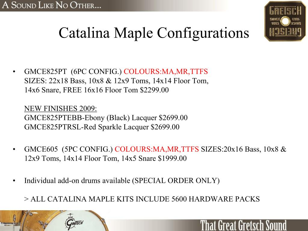 Catalina Maple Configurations