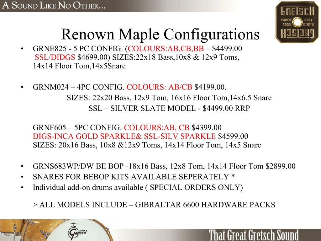 Renown Maple Configurations