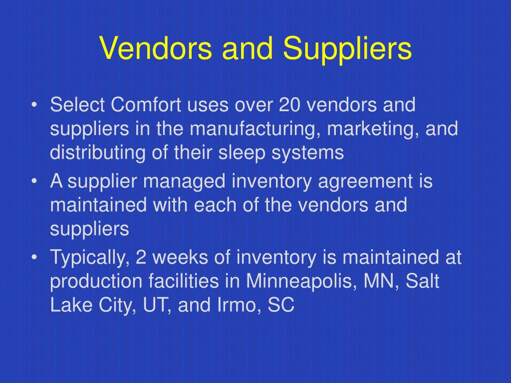 Vendors and Suppliers
