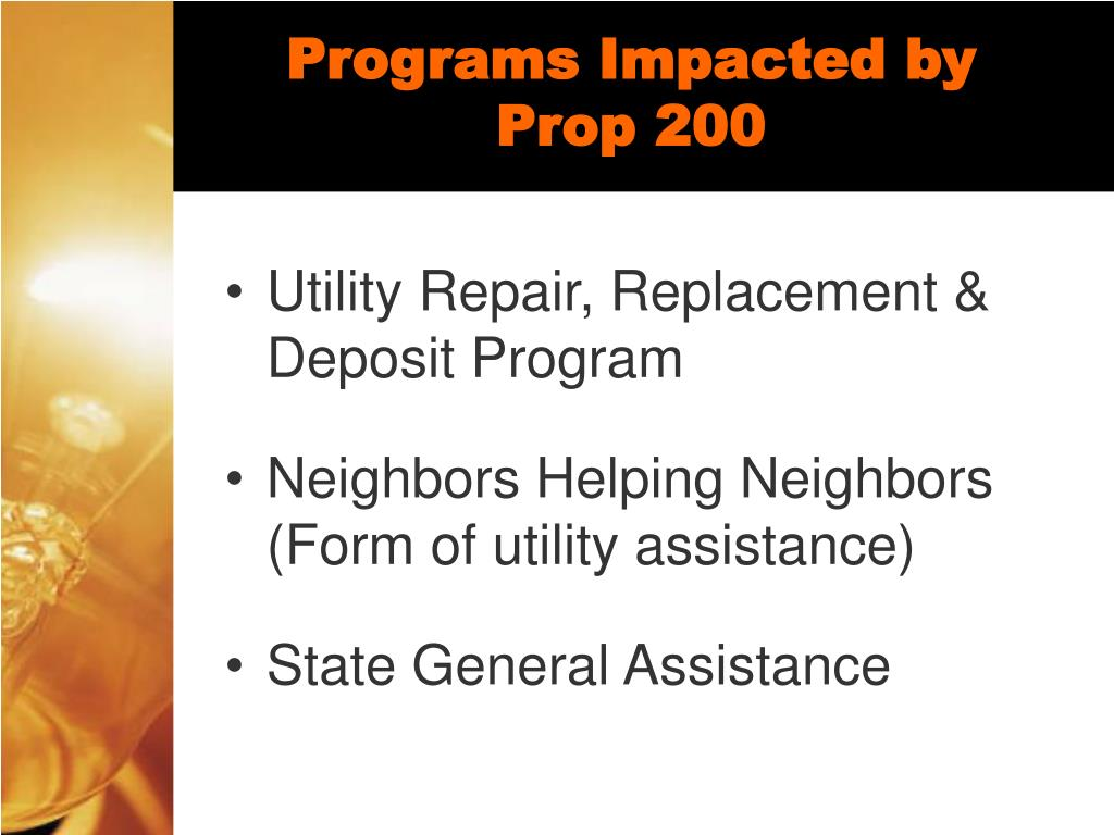 Programs Impacted by Prop 200