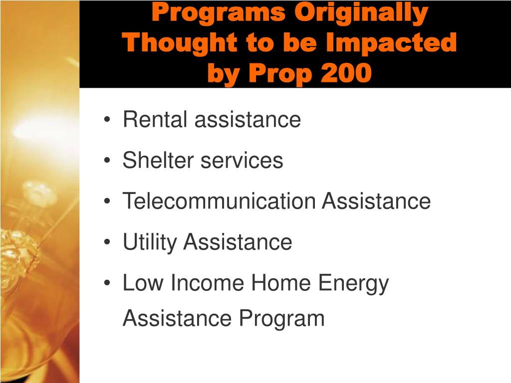 Programs Originally Thought to be Impacted by Prop 200
